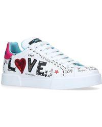 Dolce & Gabbana - Portofino Love Embellished Trainers - Lyst