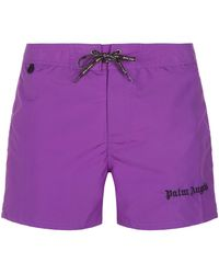 Palm Angels - Iconic Logo Embroidered Swim Shorts - Lyst