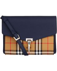 Lyst - Burberry Small Buckle House Check   Leather Shoulder Bag d21c6a36f6