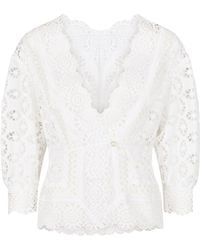 6b184115 Chloé Long-sleeve Linen Cheesecloth Top W/ Lace Guipure in White - Lyst