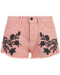 Sandrine Rose - Floral Embroidered Denim Shorts - Lyst