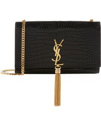 Saint Laurent - Medium Croc Embossed Kate Monogram Tassel Shoulder Bag - Lyst