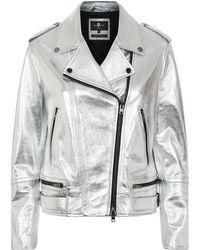 7 For All Mankind - Metallic Leather Biker Jacket - Lyst
