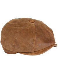 Stetson - Burney Worn Leather Flat Cap - Lyst