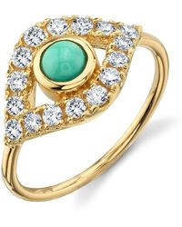 Sydney Evan - Yellow Gold Evil Eye Ring - Lyst