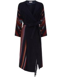 Tory Burch - Alice Striped Belted Coat - Lyst