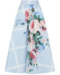 Weekend by Maxmara Floral Gingham Skirt