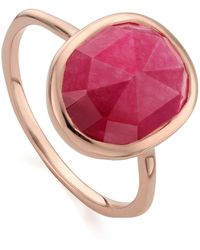 Monica Vinader - Siren Medium Pink Quartz Stacking Ring - Lyst