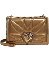 Dolce & Gabbana - Medium Metallic Leather Devotion Bag - Lyst