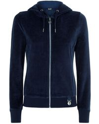 Armani - Velour Zipped Hoodie - Lyst