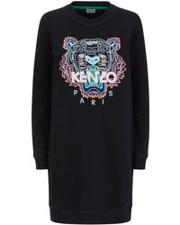 64505a93 KENZO - Tiger Embroidered Sweatshirt Dress - Lyst