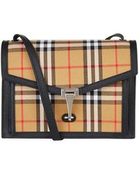 7927546c3694 Burberry - Small Leather And Vintage Check Cross Body Bag - Lyst