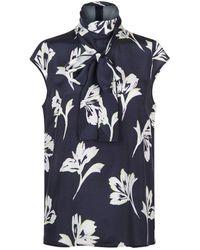 St. John - Floral Tie Detail Blouse - Lyst