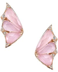 Stephen Webster - Rose Gold And Diamond Fly By Night Crystal Haze Earrings - Lyst