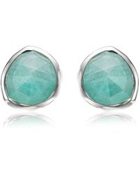 Monica Vinader - Siren Amazonite Stud Earrings, Silver - Lyst