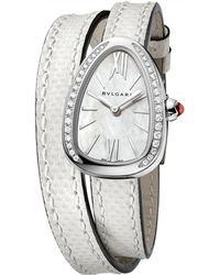 BVLGARI - Mother-of-pearl And Diamond Serpenti Watch 27mm - Lyst