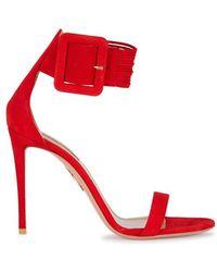 Aquazzura - Casablanca Red Suede Sandals - Lyst