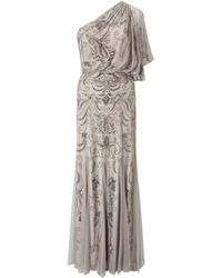 Adrianna Papell - One Shoulder Beaded Gown - Lyst