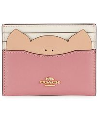 COACH - Pink Leather Pig Card Holder - Lyst