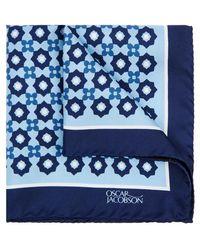 Oscar Jacobson - Blue Printed Silk Pocket Square - Lyst