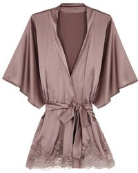 Fleur Of England - Mink Lace-trimmed Silk-blend Robe - Lyst