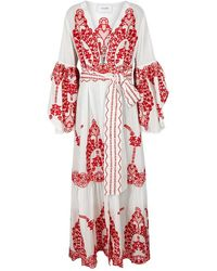 We Are Leone - Off White Embroidered Cotton Maxi Jacket - Lyst