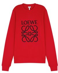 Loewe - Embroidered Cotton Sweatshirt - Lyst