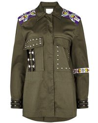 Pinko - Olive Embellished Stretch-cotton Jacket - Lyst
