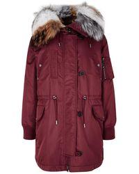Yves Salomon - Burgundy Fur-trimmed Shell Coat - Lyst