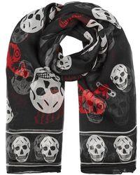 Alexander McQueen - Butterfly Skull Printed Silk Chiffon Scarf - Lyst