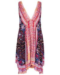 Free People - Gypsey Trapeze Printed Jersey Mini Dress - Lyst