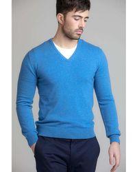 Johnstons | Delph Blue Classic V Neck Contemporary Mens Cashmere Jumper | Lyst