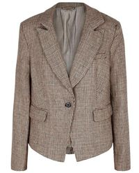 Free People - Chess Checked Linen Blazer - Lyst