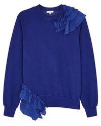 CLU - Blue Ruffle-trimmed Jersey Sweatshirt - Lyst