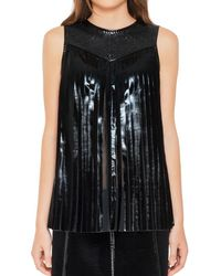 Max Studio - Patent Coated Georgette Sleeveless Accordion Pleated Blouse - Lyst