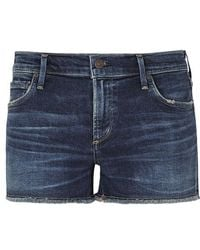 Citizens of Humanity - Ava Dark Blue Frayed Denim Shorts - Lyst