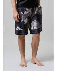 Meng - Men S Black & Khaki Printed Long Silk Satin Shorts - Lyst