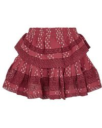 LoveShackFancy - Ruffle Red Printed Cotton Mini Skirt - Lyst