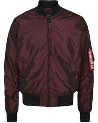 Alpha Industries - Ma-1 Metallic Burgundy Shell Bomber Jacket - Size M - Lyst