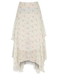 LoveShackFancy - Alex Printed Silk Chiffon Skirt - Lyst