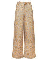 Varana - Jacquard Ajrakh Inspired Wide Leg Trousers - Lyst