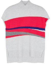Duffy - Grey Stripe-intarsia Cashmere Top - Lyst