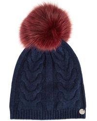 Yves Salomon - Navy Fur Pompom Wool Blend Beanie - Lyst