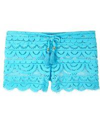 Pilyq - Lexi Turqouise Lace Shorts - Lyst