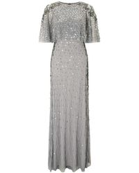 Adrianna Papell - Cape Sleeve Beaded Evening Dress - Lyst
