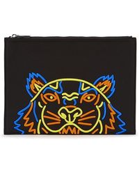 KENZO - Black Logo-embroidered Canvas Pouch - Lyst