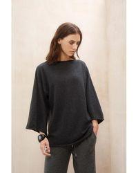 Johnstons - Charcoal Kimono Sleeve Womens Cashmere Jumper - Lyst
