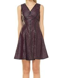Leon Max - Fit And Flare Coated Applique Dress - Lyst