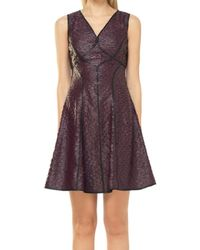 Max Studio - Fit And Flare Coated Applique Dress - Lyst