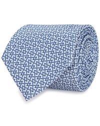 Emporio Armani - Blue Geometric-jaquard Silk Tie - Lyst